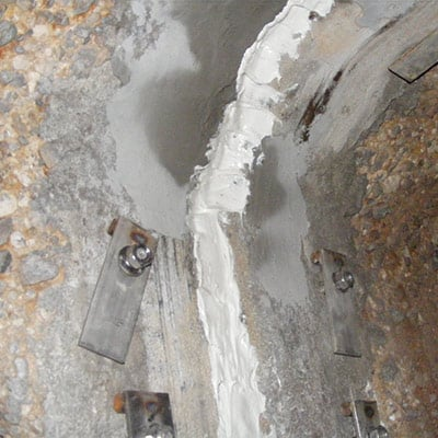 Exposed joint that is prepared for HydraTite Installation