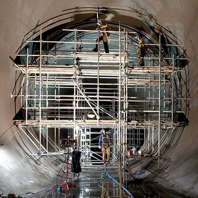Scaffolding around a large joint being repaired with HydraTite